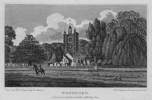 Woodford. Illustration for London being an accurate History and Description of the British Metropolis and its Neighbourhood by David Hughson (J Stratford, 1809).