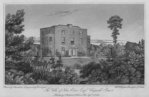 The Villa of John Elsee, Chigwell Row. Illustration for London being an accurate History and Description of the British Metropolis and its Neighbourhood by David Hughson (J Stratford, 1809).