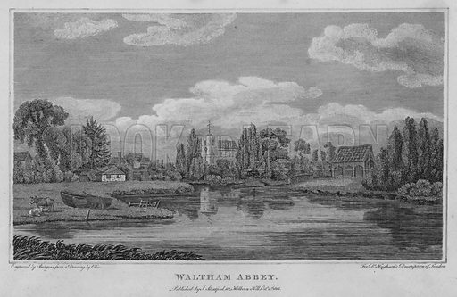 Waltham Abbey. Illustration for London being an accurate History and Description of the British Metropolis and its Neighbourhood by David Hughson (J Stratford, 1809).