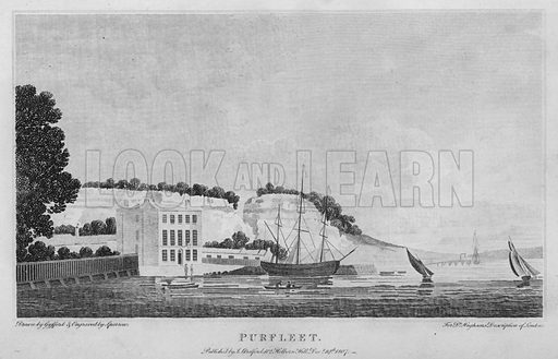 Purfleet. Illustration for London being an accurate History and Description of the British Metropolis and its Neighbourhood by David Hughson (J Stratford, 1809).