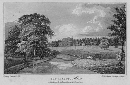 Theobalds, Hertfordshire. Illustration for London being an accurate History and Description of the British Metropolis and its Neighbourhood by David Hughson (J Stratford, 1809).