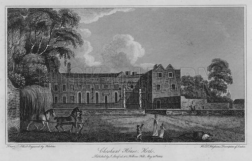 Cheshunt House, Hertfordshire. Illustration for London being an accurate History and Description of the British Metropolis and its Neighbourhood by David Hughson (J Stratford, 1809).