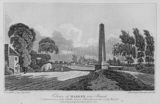 Column at Hadley, near Barnet, in commemoration of the battle between Edward IV and the Earl of Warwick. Illustration for London being an accurate History and Description of the British Metropolis and its Neighbourhood by David Hughson (J Stratford, 1809).