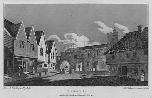 Barnet. Illustration for London being an accurate History and Description of the British Metropolis and its Neighbourhood by David Hughson (J Stratford, 1809).