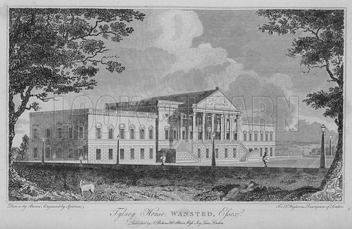 Tylney House, Wansted, Essex. Illustration for London being an accurate History and Description of the British Metropolis and its Neighbourhood by David Hughson (J Stratford, 1809).