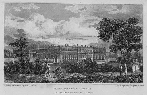 Hampton Court Palace. Illustration for London being an accurate History and Description of the British Metropolis and its Neighbourhood by David Hughson (J Stratford, 1809).