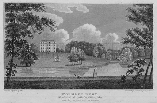 Wormley Bury, the seat of Sir Abraham Hume Baronet. Illustration for London being an accurate History and Description of the British Metropolis and its Neighbourhood by David Hughson (J Stratford, 1809).