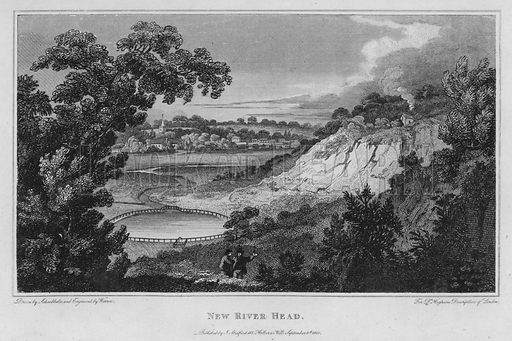 New River Head. Illustration for London being an accurate History and Description of the British Metropolis and its Neighbourhood by David Hughson (J Stratford, 1809).