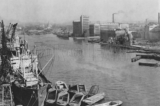 The Victoria Docks. Illustration for London Historic Buildings with an introduction by Harry Batsford (Batsford, c 1950).
