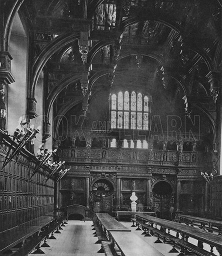 The Interior of the Middle Temple Hall. Illustration for London Historic Buildings with an introduction by Harry Batsford (Batsford, c 1950).