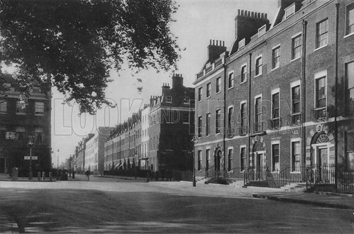 Bedford Square, Bloomsbury. Illustration for London Historic Buildings with an introduction by Harry Batsford (Batsford, c 1950).