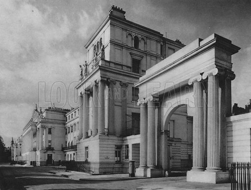 Cumberland Terrace, Regent's Park. Illustration for London Historic Buildings with an introduction by Harry Batsford (Batsford, c 1950).