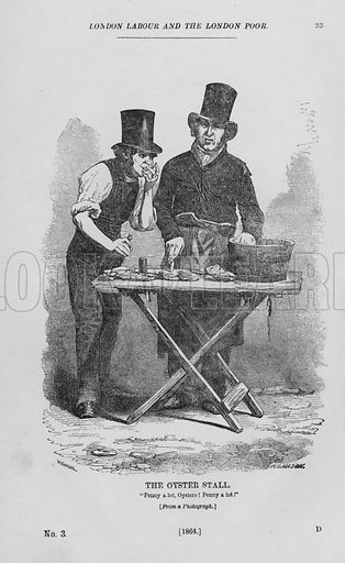 The Oyster Stall. Illustration for London Labour and the London Poor by Henry Mayhew (Charles Griffin, c 1865).