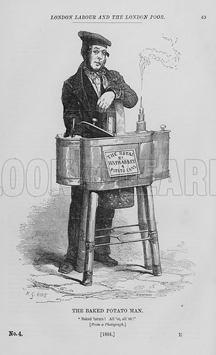 The Baked Potato Man. Illustration for London Labour and the London Poor by Henry Mayhew (Charles Griffin, c 1865).