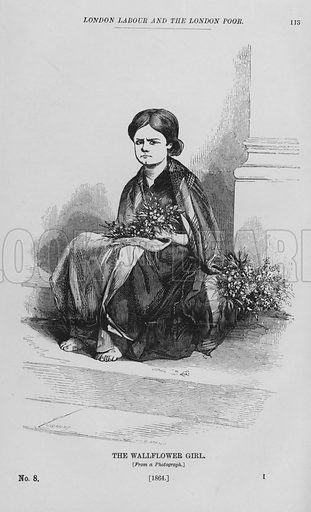 The Wallflower Girl. Illustration for London Labour and the London Poor by Henry Mayhew (Charles Griffin, c 1865).