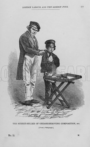 The Street-Seller of Grease-Removing Composition, etc. Illustration for London Labour and the London Poor by Henry Mayhew (Charles Griffin, c 1865).
