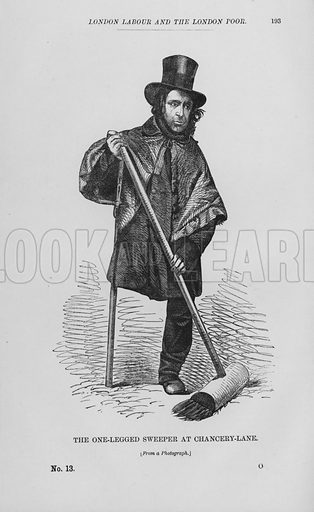 The One-Legged Sweeper at Chancery-Lane. Illustration for London Labour and the London Poor by Henry Mayhew (Charles Griffin, c 1865).