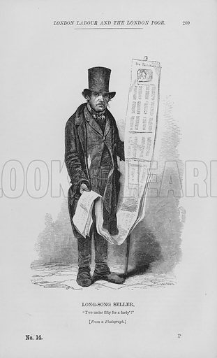 Long-Song Seller. Illustration for London Labour and the London Poor by Henry Mayhew (Charles Griffin, c 1865).