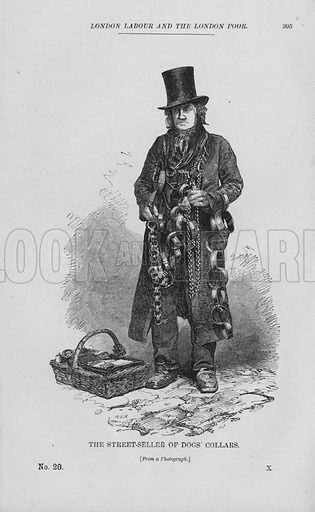 The Street-Seller of Dogs' Collars. Illustration for London Labour and the London Poor by Henry Mayhew (Charles Griffin, c 1865).