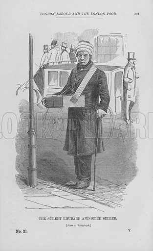 The Street Rhubarb and Spice Seller. Illustration for London Labour and the London Poor by Henry Mayhew (Charles Griffin, c 1865).