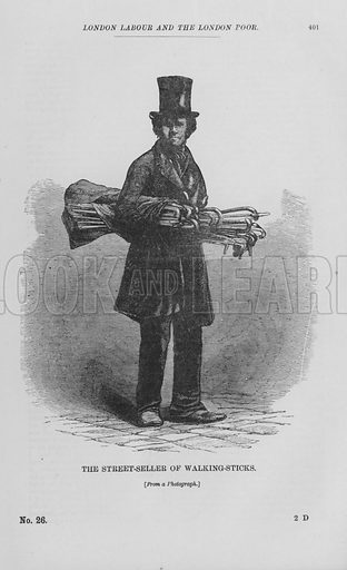 The Street-Seller of Walking-Sticks. Illustration for London Labour and the London Poor by Henry Mayhew (Charles Griffin, c 1865).