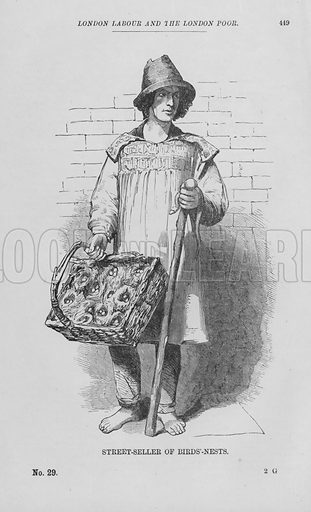 Street-Seller of Birds'-Nests. Illustration for London Labour and the London Poor by Henry Mayhew (Charles Griffin, c 1865).