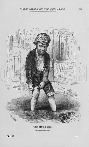 The Mud-Lark. Illustration for London Labour and the London Poor by Henry Mayhew (Charles Griffin, c 1865).