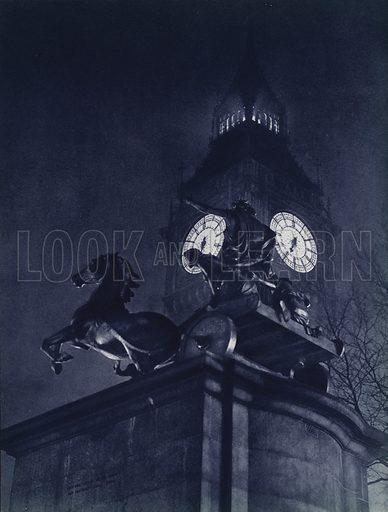 London at night: Statue of Boadicea and Big Ben