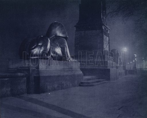 Base of Cleopatra's Needle, Victoria Embankment. Illustration for London Night by John Morrison and Harold Burdekin (Collins, 1934). Gravure printed.
