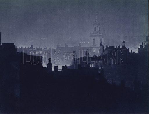 St Botolph's Church, City. Illustration for London Night by John Morrison and Harold Burdekin (Collins, 1934). Gravure printed.