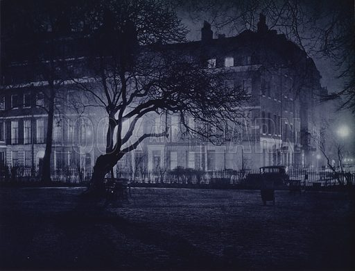 Manchester Square. Illustration for London Night by John Morrison and Harold Burdekin (Collins, 1934). Gravure printed.