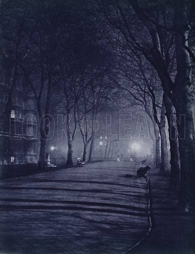 Temple Gardens, City. Illustration for London Night by John Morrison and Harold Burdekin (Collins, 1934). Gravure printed.