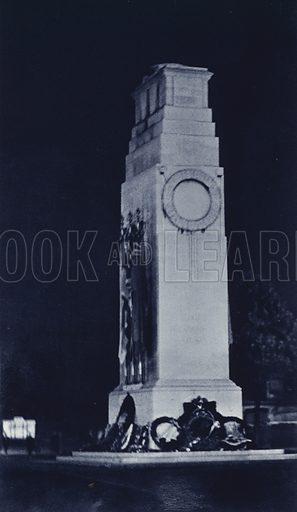 Cenotaph, Whitehall. Illustration for London Night by John Morrison and Harold Burdekin (Collins, 1934). Gravure printed.