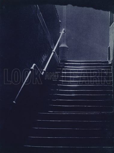 Essex Stairs, Temple. Illustration for London Night by John Morrison and Harold Burdekin (Collins, 1934). Gravure printed.