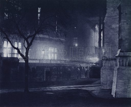 Temple Gardens City. Illustration for London Night by John Morrison and Harold Burdekin (Collins, 1934). Gravure printed.