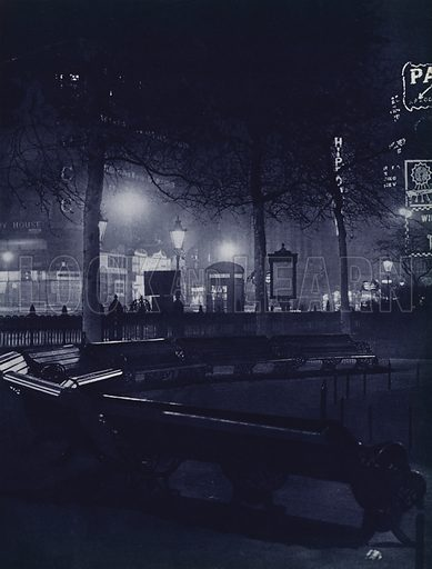 Leicester Square, Piccadilly. Illustration for London Night by John Morrison and Harold Burdekin (Collins, 1934). Gravure printed.