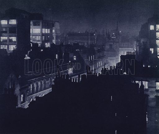 View from St Helen's Place, City. Illustration for London Night by John Morrison and Harold Burdekin (Collins, 1934). Gravure printed.