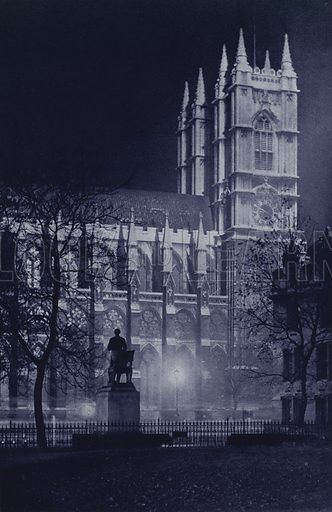 Statue of Abraham Lincoln and Westminster Abbey. Illustration for London Night by John Morrison and Harold Burdekin (Collins, 1934). Gravure printed.