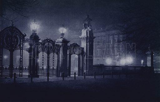 Buckingham Palace. Illustration for London Night by John Morrison and Harold Burdekin (Collins, 1934). Gravure printed.