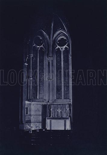Altar, St Bartholomew The Less, City. Illustration for London Night by John Morrison and Harold Burdekin (Collins, 1934). Gravure printed.