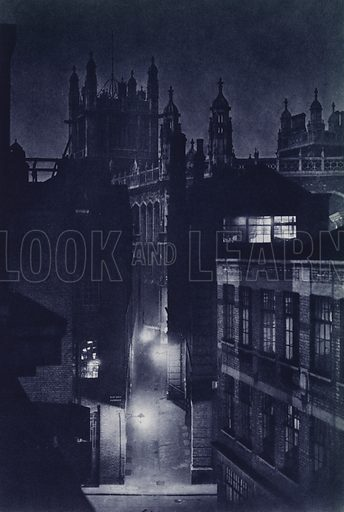 Red Lion Passage and Rolls and Records Office, Chancery Lane. Illustration for London Night by John Morrison and Harold Burdekin (Collins, 1934). Gravure printed.