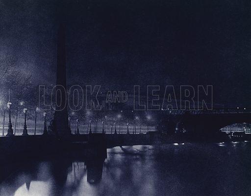 Victoria Embankment. Illustration for London Night by John Morrison and Harold Burdekin (Collins, 1934). Gravure printed.