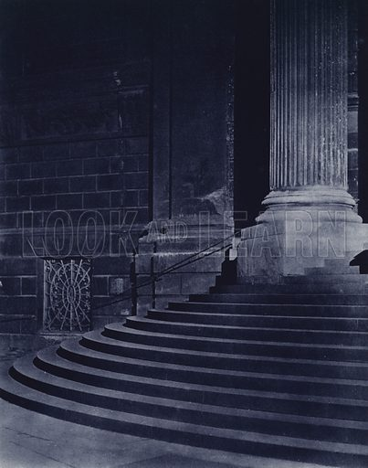 Steps of North Door, St Paul's Cathedral. Illustration for London Night by John Morrison and Harold Burdekin (Collins, 1934). Gravure printed.