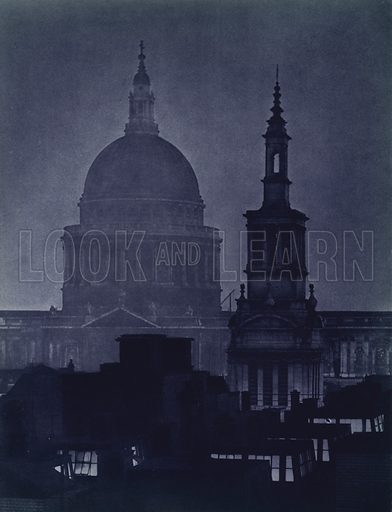 St Paul's Cathedral. Illustration for London Night by John Morrison and Harold Burdekin (Collins, 1934). Gravure printed.