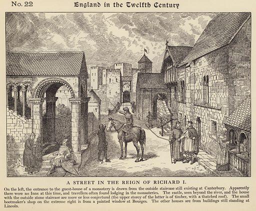 A street in the reign of Richard I. Illustration for Longmans' Historical Illustrations (c 1910).