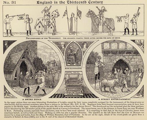 A sword dance; A street entertainment. Illustration for Longmans' Historical Illustrations (c 1910).