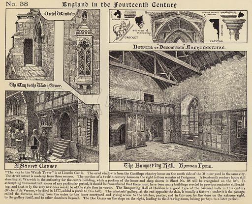 A street corner, The banqueting hall, Haddon Hall. Illustration for Longmans' Historical Illustrations (c 1910).