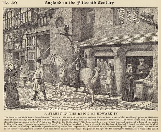 A street in the reign of Edward IV. Illustration for Longmans' Historical Illustrations (c 1910).
