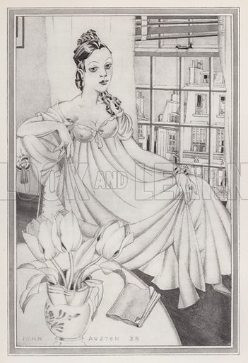 Emma. Illustration for Madame Bovary, A Story of Provincial Life, by Gustave Flaubert (John Lane The Bodley Head, 1928).