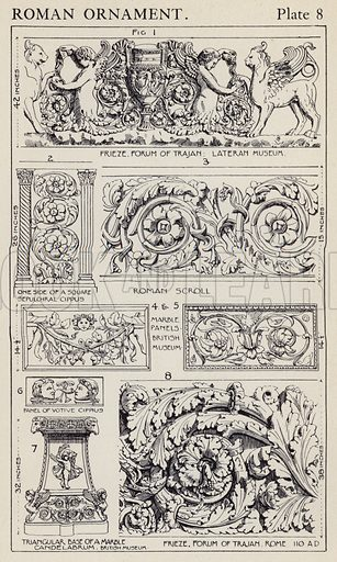 Roman Ornament. Illustration for A Manual of Historic Ornament by Richard Glazier (Batsford, 1899).  Illustrations are by Richard Glazier (1851-1918), who was an associate of the Royal Institute of British Architects and Head Master of the Municipal School of Art, Manchester.